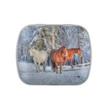 Three Horses in the Snow Equine Image Candy Tin