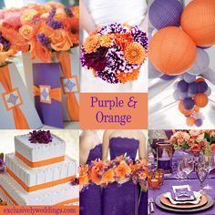 fall wedding cakes with purple and orange flowers   In my Purple and Orange collage I used a bit lighter shade of orange ...