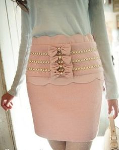 Super feminine pink skirt with bows and scalloped detail. Great for Valentine's Day!