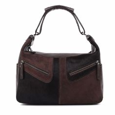 "TOD'S ""Miky"" Genuine Brown Leather Suede & Pony Hair Shoulder Hobo Bag Purse #Tods #Hobo"