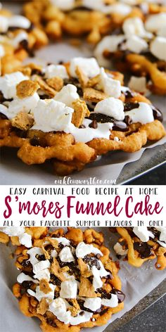 Easy S'mores Funnel Cake brings your favorite summer flavors together. Graha… Easy S'mores Funnel Cake brings your favorite summer flavors together. Graham cracker funnel cake topped with hot fudge & marshmallow sauce is so good! via Kleinworth & Co. Funnel Cake Recipe Easy, Homemade Funnel Cake, Easy Cake Recipes, Homemade Cakes, Sweet Recipes, Baking Recipes, Homemade Recipe, Recipe Recipe, Köstliche Desserts