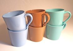 """Vintage 60's Lenox (yes, really!!) blue, brown, and aqua cups are made of """"lenoxite"""". #lenox #coffee #mugs #cup #vintage #kitchen"""