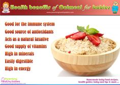 Oatmeal in Baby Food - Health Benefits Follow us @ http://pinterest.com/stylecraze/health-and-wellness/  for more updates.