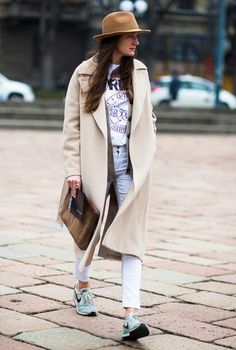 Fall-ready layers include pants, a tee, cardigan, camel coat, and wide-brimmed felt hat. #streetstyle
