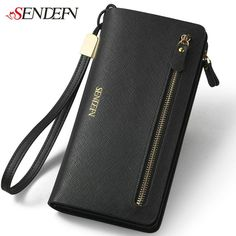 72.87$  Buy here - http://aliom7.worldwells.pw/go.php?t=32576967791 - 2016 Brand Women's Purse Genuine Leather Zipper Coin Purse Credit Cards Phone Large Organizer Wallet Leather Women Money Long 72.87$