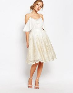 Chi Chi London | Chi Chi London Premium Metallic Lace Midi Skirt