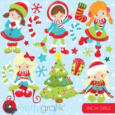 Christmas girls clipart