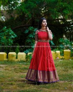 These Ethnic Long Dresses Will Give The Most Elegant Looks!! • Keep Me Stylish Long Gown Design, Fancy Dress Design, Girls Frock Design, Stylish Dress Designs, Long Gown Dress, Saree Dress, Long Dresses, Long Gowns, Saree Blouse