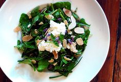 Eating From the Garden: Meyer Lemon Spring Salad with Baby Greens, Herbs, Almonds and Goat Cheese