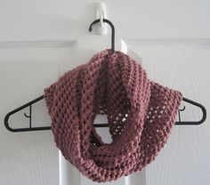 handmade.  Lace Knit // Infinity Scarf // Dusty Pink // by itsCOWLdoutside, $28.00