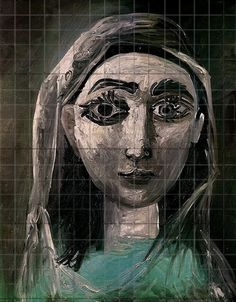 1031 Picasso painting gridded for the use of art students and painters.