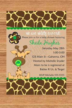 Baby giraffe any color baby shower by delightfulprints on Etsy, $10.00