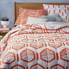 Hand-Blocked Striped Geo Quilt + Shams - Mandarin #westelm ?close enuf to coral?jnbed