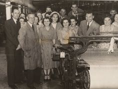 Bata Derbyshire & Blackburn Adlington Textile Mill Chorley Lancashire, visit to the Mill on 15-06-1950 of Sonja Bata and Thomas Bata, need help naming other personnel, photo courtesy Charles Novotny Family Archive, we have more photos of the looms and employees of this mill, contact BRRC or see website
