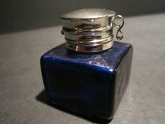 19th C Antique Style Solid Thick Glass Cobalt Blue Inkwell Ink Pot Bottle | eBay