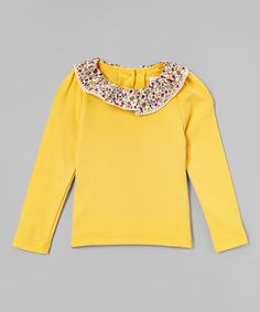 Another great find on #zulily! Yellow Floral Collar Sweater - Girls #zulilyfinds