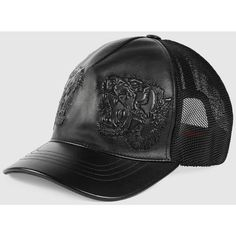 e493d027c6d76 Gucci Tigers Embossed Leather Baseball Hat (17