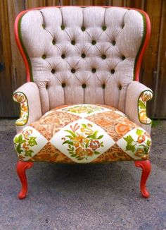 Re-upholstered wing back chair...fun and funky!
