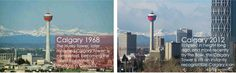 History of Calgary Then and Now 1968 to 2012 in photo