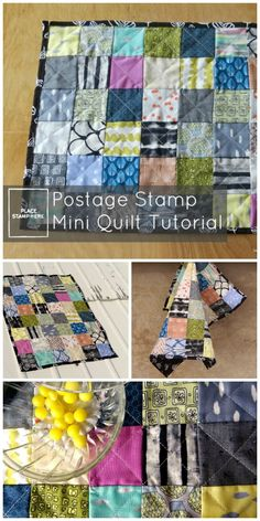 postage stamp mini quilt tutorial great for scraps and beginners.
