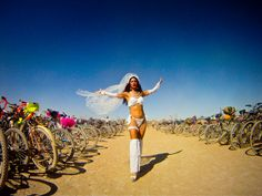 Woman dressed in costume, Burning Man, Black Rock City, Nevada, USA