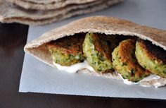 homemade falafel with tahini sauce -- lunch.