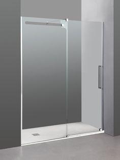 Mampara de ducha modelo VETRUM 1 fijo + 1 corredera en Transparente