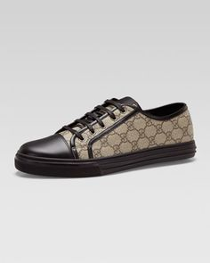 California GG PU Fabric Low-Top Sneaker, Beige/Black by Gucci at Neiman Marcus.