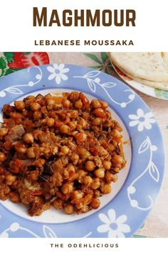 A Lebanese Moussaka which is a vegan dish made with eggplants and chickpeas. It is best serve with flatbread or rice.