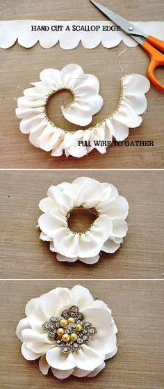 DIY Scalloped Edge Flowers - so cool! Cut the wire off one side of wired ribbon, then cut scallops down this one side, pull the wire on the opposite side to gather the petals into a flower shape & cut off the wire. Sew ends to secure petals & flower in place. Embellish the center with buttons, beads, jewel stones or broach! (Maybe do a few on the bouquet)