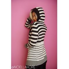 Black and white striped hooded cardigan Black and white stripe hooded cardigan in excellent condition! Size is Large. Sweaters Cardigans