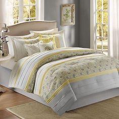 Britta 7 PC Queen Comforter Set Yellow Gray   eBay
