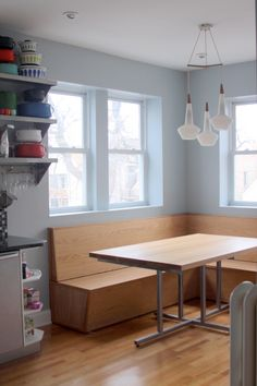 breakfast nook; eat-in-kitchen  ; built-in bench; http://sharchitecturedesignbuild.com/home.html  Chicago IL. Our house. We love it! Made of white oak