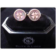 Diamond + Black Mother of Pearl Sterling Silver Cufflinks, Rose Gold plated…
