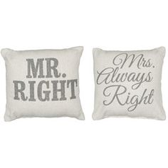 Rustic Mr/Mrs. Right Accent Pillows