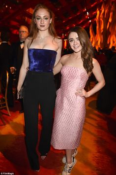 Winners: Game Of Thrones stars Maisie Williams, 18, and Sophie Turner, 19, were dressed in all their finery as they celebrated the show's stellar night at the Emmys at HBO's official afterparty in Hollywood on Sunday