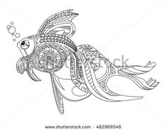 Gold fish coloring book for adults vector illustration
