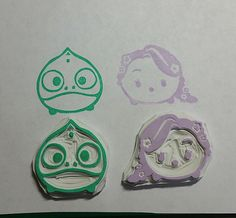 hand carved rubber stamp Rapunzel Pascal Tangled Tsum Tsum by KindredStamps