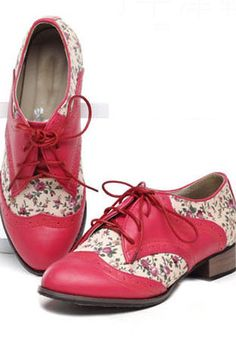 Sweet Contrast Floral Panel Lace-up Shoes $65.00