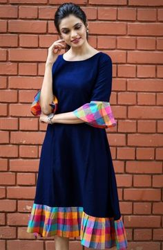 Fabric: Khadi Cotton Sleeves: Sleeves Are Included Size: (Bust) Up To 42 in (Free Size) Length: Up To 46 in Type: Semi-Stitched Fabric: Khadi Cotton Salwar Designs, Kurta Designs Women, Kurti Neck Designs, Dress Neck Designs, Kurti Designs Party Wear, Blouse Designs, Simple Kurti Designs, Frock Design, Casual Frocks