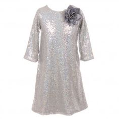 7b2a1df61234 Kids Dream Big Girls Silver Sequin Flower Adorned Junior Bridesmaid Dress 8-12  Girls Christmas
