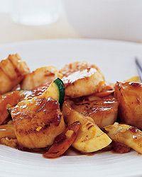 Wok-Seared Scallops with Tangerine Sauce Recipe on Food & Wine Wok Recipes, Seafood Recipes, Asian Recipes, Dinner Recipes, Healthy Recipes, Recipies, Healthy Cooking, Healthy Eating, Seafood