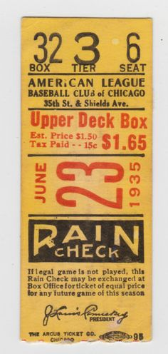 1935 Red Sox at White Sox DH Ticket Stub 5 HOFers | eBay — Designspiration