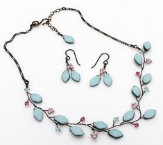 blue and pink bridal necklace and earring by CherylParrottJewelry