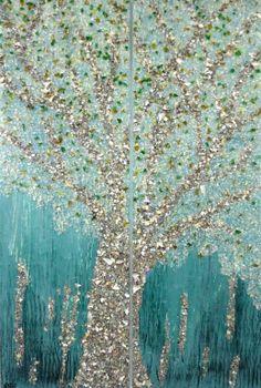 "Saatchi Art Artist: Nena Stojanovic; Enamel Painting ""Seashells / dark green"""