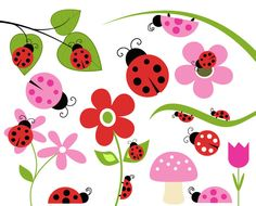 BUY 2 GET 2 FREE - Lady Bug Clip Art - Bug Flower Leaf Branch Mushroom Clipart - Personal and Commercial Use. $5.00, via Etsy.