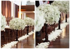 I never would have thought of using skads and skads of baby's breath!  So DIY-able and affordable... and beautiful!