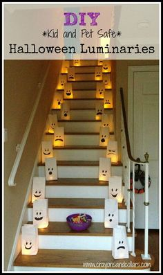Flame Free DIY Halloween Luminaries Flame Free DIY Halloween Luminaries DIY flame free Halloween inside or outside luminaries. Easy craft idea from www.crayonsandcol The post Flame Free DIY Halloween Luminaries appeared first on Halloween Party. Spooky Halloween, Diy Halloween Luminaries, Dollar Store Halloween, Halloween Party Games, Halloween Crafts For Kids, Halloween Birthday, Holidays Halloween, Halloween Costumes, Halloween Cocktails