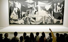 "Art from Spain / Pablo Picasso (Málaga 1881–1973)/ War and pain - ""The Guernica"" is a mural-sized oil painting on canvas by Pablo Picasso completed in June 1937. The painting, is regarded by many art critics as one of the most moving and powerful anti-war paintings in history. The large mural shows the suffering of people wrenched by violence and chaos."