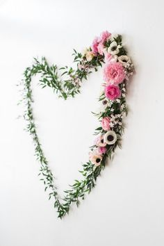 Heart-shaped Greenery + Floral Backdrop Piece from a We Love Lucy Pink + Gold Baby Shower via Kara's Party Ideas | KarasPartyIdeas.com (34)